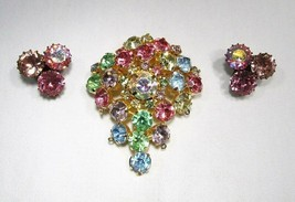 Vintage Rhinestone Brooch & Clip Earrings C2825 - $24.09