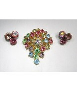 Vintage Rhinestone Brooch & Clip Earrings C2825 - £18.05 GBP