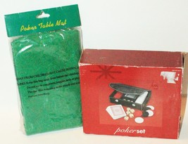 2 LOT - POKER CARD FULL SET W/ CHIPS + CASE & TABLE MAT COVER 23x34 NEW - $13.74