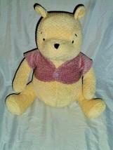 Vintage The Disney Store Stuffed Plush Chenille Winnie The Pooh Pink Ves... - $59.39