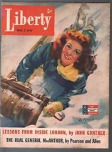 Liberty 3/7/1942-Lu Kimmel pin-up girl cover- WWII-Mickey Mouse-Babe Rut... - $60.53