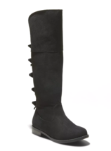 Cat & Jack Black Faux Suede Leora Zipper Ankle Riding Boots image 1