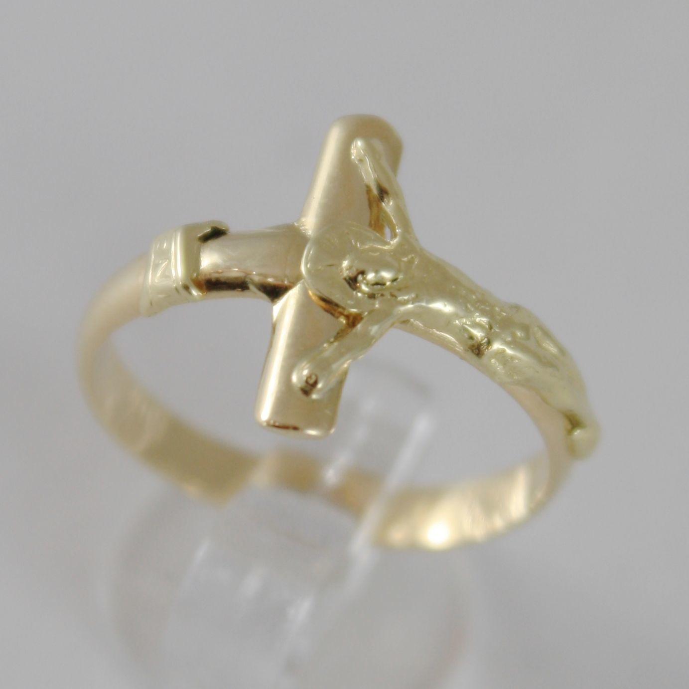 SOLID 18K YELLOW GOLD BAND RING WITH JESUS CROSS LUMINOUS SMOOTH, MADE IN ITALY