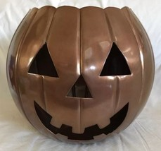 "Bronze Shiny Metal Jack-O-Lantern Halloween Decoration 9.75"" Tall EUC - $29.69"