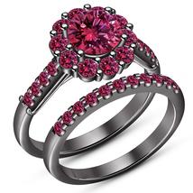 Amazing Round Cut Pink Sapphire 14K Black Gold Finish 925 Silver Bridal ... - $93.99