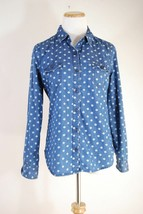 Old Navy Chambray Polka Dot Blue White Button Down - XS - $10.77