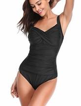 LALAVAVA Women Vintage One Piece Swimsuit Monokini Ruched Tummy Control ... - $24.26