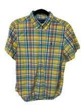Ralph Lauren youth boys shirt plaid short sleeve button front size L 14-16 - $19.58