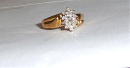 10K Yellow Gold Diamond Round Cluster Ring, Size 7, 0.25(TCW), I1-I2 / H-I, 2.9G - $165.00