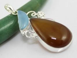 Chalcedony-Citrine Stone Silver Overlay Handmade Pendant Jewelry 19 Gr. F-542-4_ - $4.99