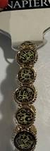 Napier Olive Green/Gold/Black Round Stretch Bracelet NWT $26 - $13.86