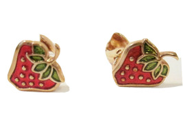 Vtg Signed Avon Glazed Strawberries Enamel Clip on Earrings Gold Tone 1979 - $7.00