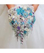 Blue Purple Droplets bouquet, brooch Wedding bridal bride's  bouquets Ha... - $358.00