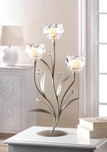 CRYSTAL FLOWER TRIPLE Candle Holder 18 Inch - $32.21