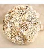 hydrangea brooch bouquet,White ivory gold Wedding bridal bride's pearl b... - $139.00