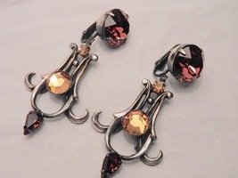 Vintage Arts & Crafts Earrings with Faceted Topaz Glass Stones - $35.00