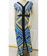 Nwt Laundry by Shelli Segal Summer Casual Long V-neck Dress Sz 2 Blue Pr... - $69.25