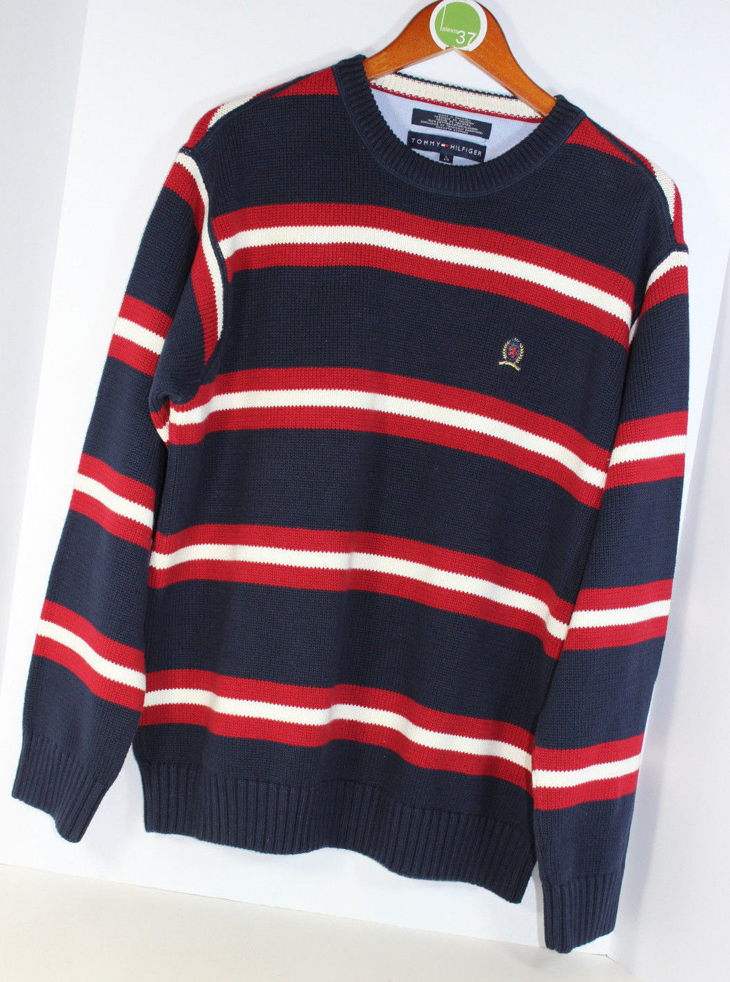 tommy hilfiger red blue white stripe crest logo cotton. Black Bedroom Furniture Sets. Home Design Ideas