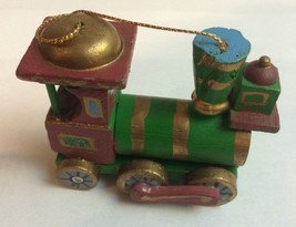 VINTAGE WOODEN TRAIN HANGING ORNAMENT~SIGNED KURT S. ADLER 1980 - $5.10