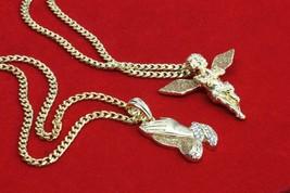 Mens 14k Gold Plated Stardust Long Wings Angel & Prayer Hands Pendants 3... - $24.74
