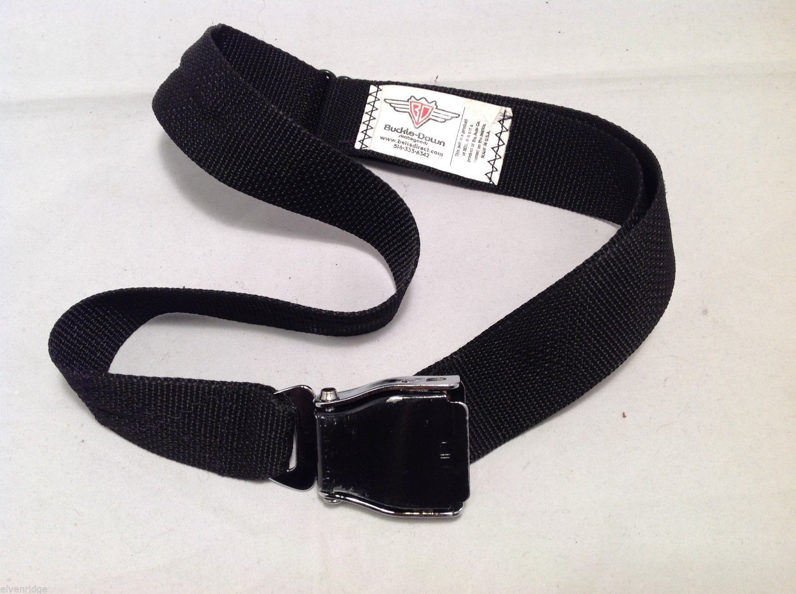 Buckledown Unisex Black Belt like seatbelt buckle, 20-40""