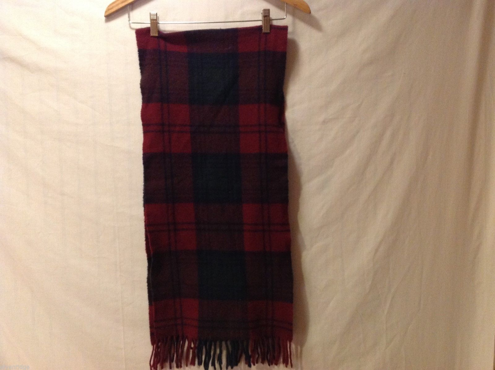 "Unisex Pure Wool Plaid Scarf, 13"" X 60"""