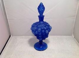 vintage blue glass decanter, sealed, unknown maker, grape design