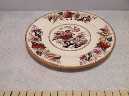 Antique Cermic Plate With Red And Black Floral Design image 2