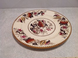 Antique Cermic Plate With Red And Black Floral Design image 3