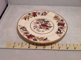 Antique Cermic Plate With Red And Black Floral Design image 6