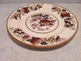 Antique Cermic Plate With Red And Black Floral Design image 4