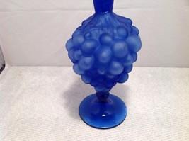 vintage blue glass decanter, sealed, unknown maker, grape design image 3