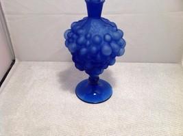 vintage blue glass decanter, sealed, unknown maker, grape design image 4