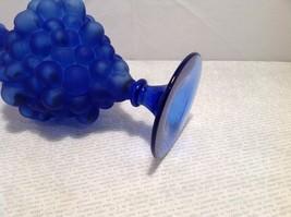 vintage blue glass decanter, sealed, unknown maker, grape design image 6