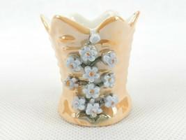 Vintage Porcelain Toothpick Holder, 6 Pointed Sides, 3D Flower Blooms, #... - $12.69
