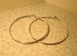 T103 large silver hoop earrings