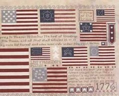 Old Glory patriotic flags cross stitch chart Rosewood Manor