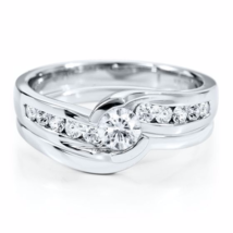 1/2 Ct Simulated Diamond Bridal Engagement Ring Set In 14K White Gold Finish 925 - $199.99