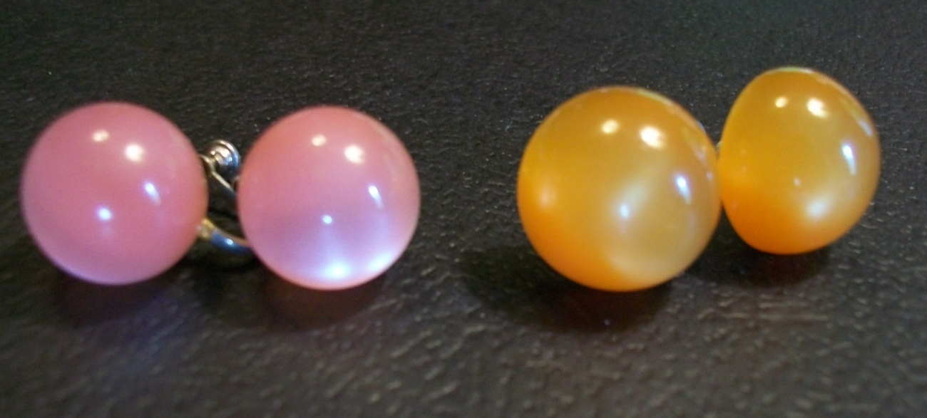 Two Pair of Vintage Moonstone Earrings with Screw Backs One Orange and One Pink