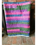 "Handmade Batik Quilt 56.5 "" x 67""  Rectangle Strips, Machine Sewn, Brigh... - $94.00"