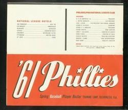 PHILLIES-SPRING TRAINING BASEBALL PLAYER ROSTER-1961-FL FN/VF - $39.29