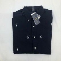 Polo Ralph Lauren Navy  Oxford W/ White Emroidered Pony Allover NWT Sz L - $86.10