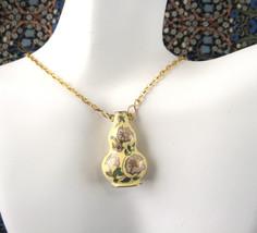 Yellow Cloisonne Enamel Vase Pendant Necklace Double Side With Gold Plat... - $30.00