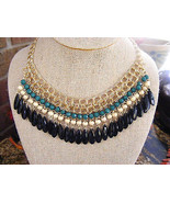 BIB NECKLACE OF GOLDTONE CHAIN, GREEN, CREME AND BLACK FACETED DROPS - $10.88