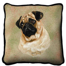"Pug Fawn Pillow Pure Country Weavers 17"" x 17""  100% Cotton Dog Breed - $28.00"
