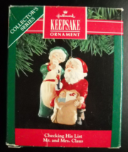 Hallmark Keepsake Christmas Ornament 1991 Checking His List 6th in Mr Mr... - $6.99