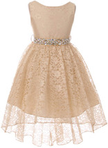 Flower Girl Dress Hi-Low Style Lace Allover Champagne MBK 360 - $39.59+