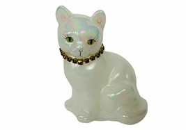 Fenton Art Glass Figurine Opalescent Cat Kitten birthstone necklace sign... - $49.45