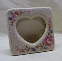Vintage Heart & Roses Design Porcelain Table Top Photo Frame // Made in ... - $10.00