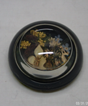 Vintage Dried Flowers Moss Encased in Glass Half Dome Paperweight - $10.00